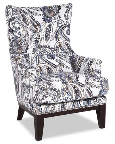 Haden Fabric Accent Chair – Paisley - Traditional style Accent Chair in Grey