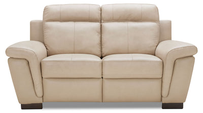 Seth Genuine Leather Power Reclining Loveseat – Rope - Modern style Loveseat in Rope