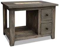 Santa Fe Rusticos Solid Pine End Table with Marble Inset – Grey