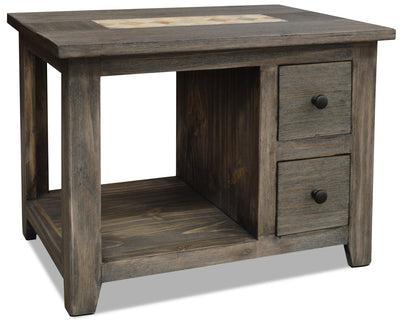 Santa Fe Rusticos Solid Pine End Table with Marble Inset – Grey - Rustic style End Table in Grey Wood/Stone