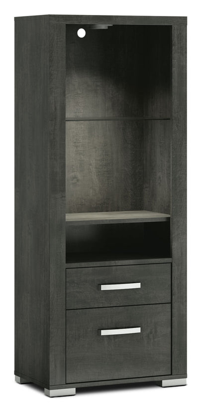 Allendale Right/Left Open Pier - Anthracite - Modern style Storage Pier in Anthracite Particle Board and Laminate