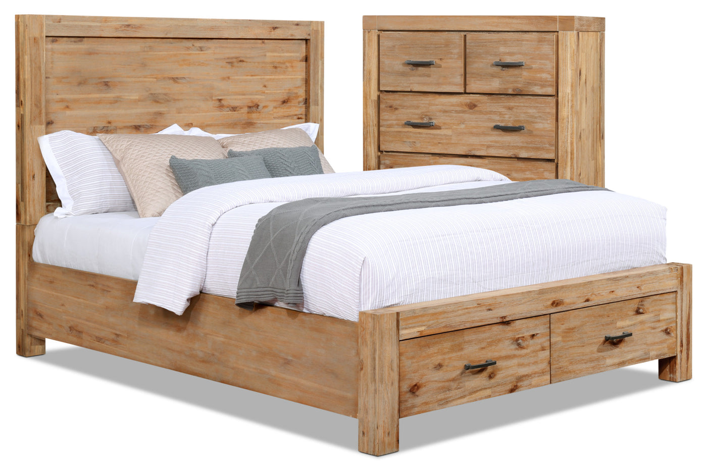 Acadia piece queen storage bed and chest package the brick