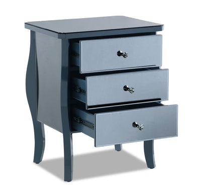 Dawn Nightstand - Blue - Glam style Nightstand in Blue Solid Hardwoods