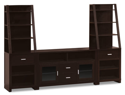 "Kensington 3-Piece Entertainment Centre with 47"" TV Opening - Contemporary style Wall Unit in Espresso Wood"