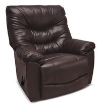 4595 Genuine Leather Rocker Reclining Chair – Espresso|Fauteuil berçant inclinable 4595 en cuir véritable - espresso