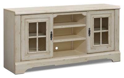"Highland 66"" TV Stand - Country style TV Stand in Antique White"
