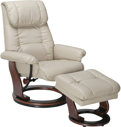 Dixon Taupe Reclining Chair & Ottoman - Contemporary style Accent Chair in White/Cream