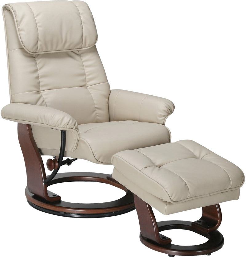 Dixon Taupe Reclining Chair & Ottoman|Ensemble fauteuil inclinable et pouf Dixon taupe