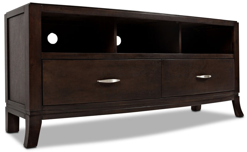 "Downtown 60"" TV Stand - Contemporary style TV Stand in Dark Brown Wood"
