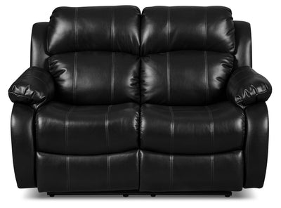 Omega 3 Leather-Look Fabric Reclining Loveseat – Black - Contemporary style Loveseat in Black