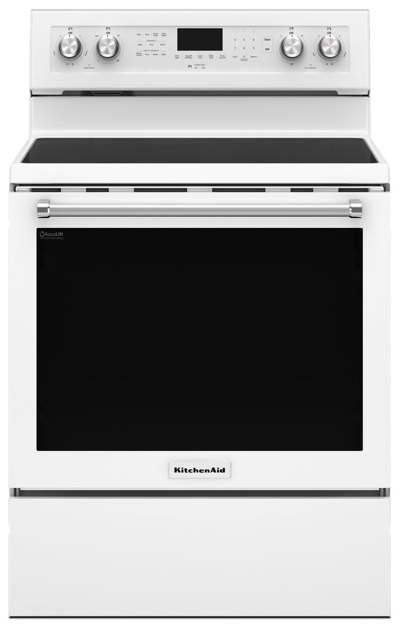 KitchenAid 6.4 Cu Ft. Five-Element Electric Convection Range - White - Electric Range in White