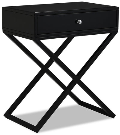 Demi Nightstand - Black - {Modern} style Nightstand in Black {Metal}, {Engineered Wood}