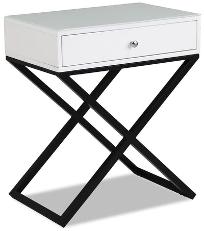 Demi Nightstand - White - {Modern} style Nightstand in White {Metal}, {Engineered Wood}