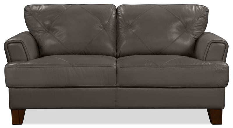Vita 100% Genuine Leather Loveseat – Charcoal|Causeuse Vita en cuir 100 % véritable - anthracite