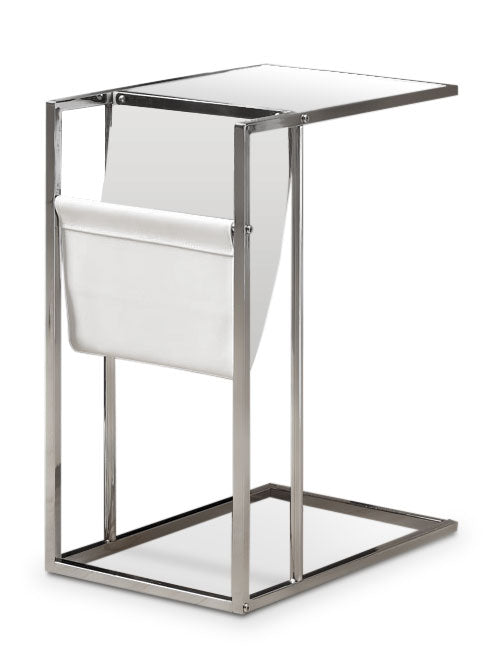 Durham Accent Table with Magazine Rack – Chrome - Modern style End Table Metal and Glass
