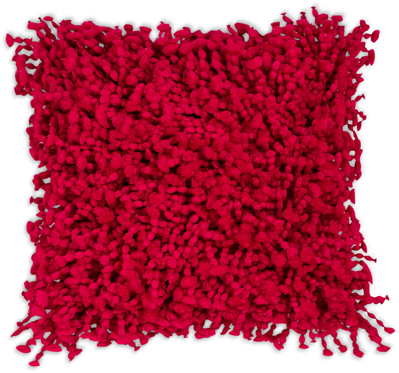 Shaggy Accent Pillow – Red|Coussin décoratif Shaggy à poil long - rouge