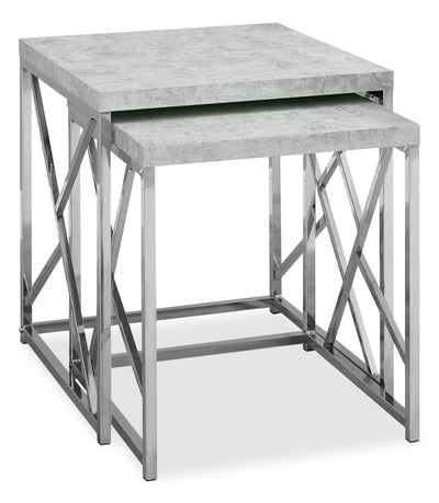 Banda Nesting Tables - Modern style End Table in Light Grey Metal