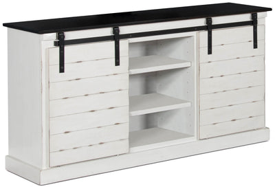 "Coast 65"" TV Stand with Barn Doors – White - Country style TV Stand in White {Pine}, {Wood}, {Metal}"