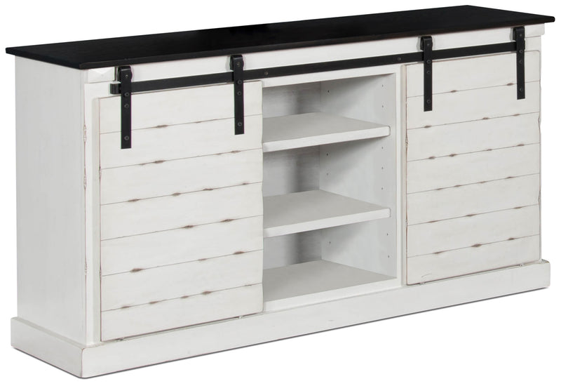 coast 65 tv stand with barn doors white the brick. Black Bedroom Furniture Sets. Home Design Ideas