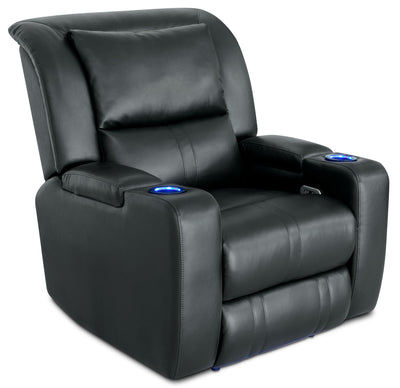 Cato Leather-Look Fabric Power Recliner with Power Headrest – Black - Contemporary style Chair in Black