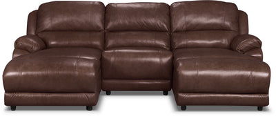 Marco Genuine Leather 3-Piece Sectional with Inclining Chaises– Chocolate - Contemporary style Sectional in Brown