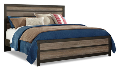 Harlinton King Panel Bed - Rustic style Bed in Two-Toned