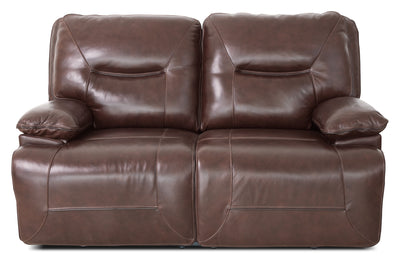 Beau Genuine Leather Power Reclining Loveseat – Burgundy - Contemporary style Loveseat in Burgundy
