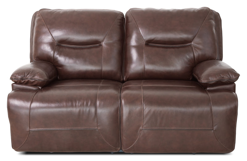 Beau Genuine Leather Power Reclining Loveseat – Burgundy|Causeuse à inclinaison électrique Beau en cuir véritable - bourgogne