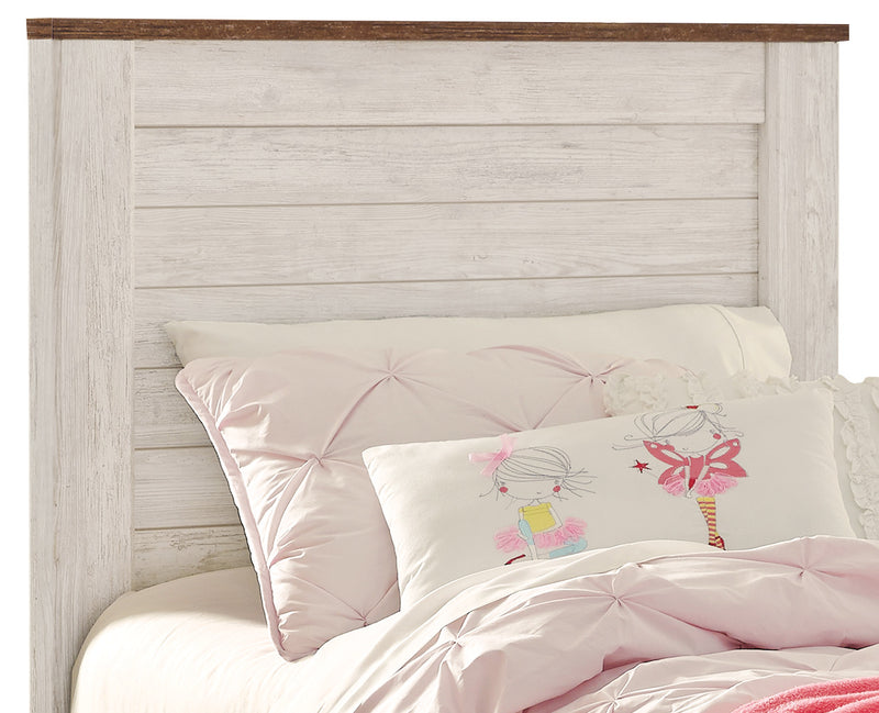 Willowton Twin Headboard - Country style Headboard in White Engineered Wood and Laminate Veneers
