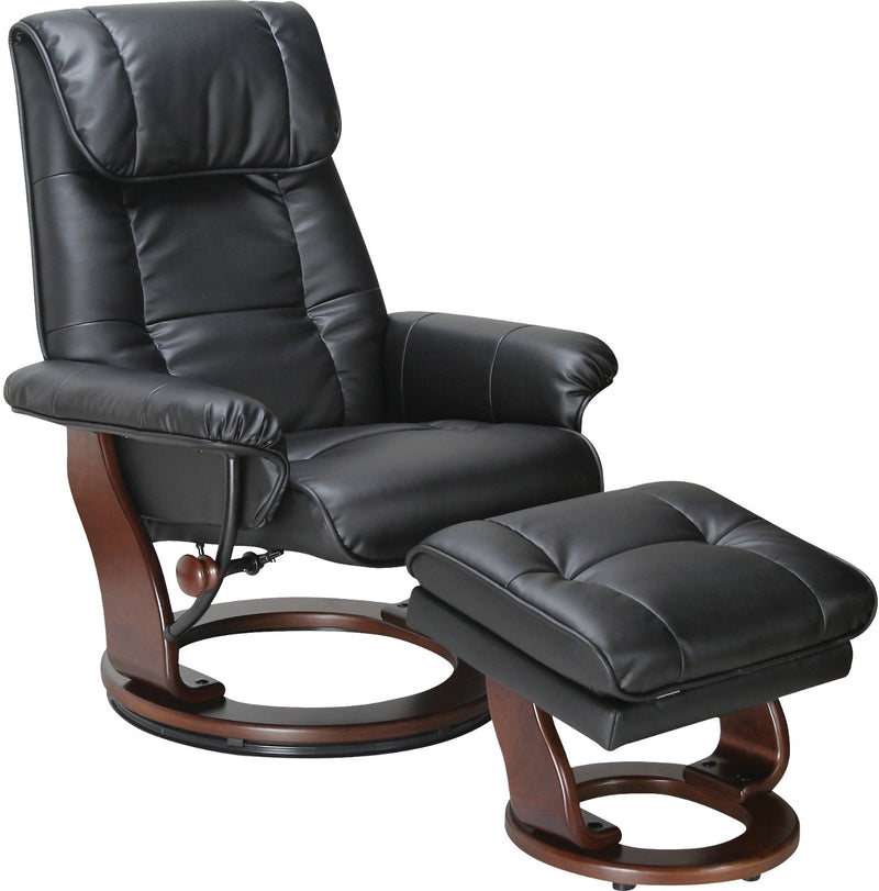 Dixon Black Reclining Chair & Ottoman|Ensemble fauteuil inclinable et pouf Dixon noir|DIXONB-AC
