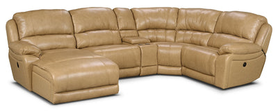 Marco Genuine Leather 5-Piece Sectional with Left-Facing Inclining Chaise – Toffee - Contemporary style Sectional in Toffee