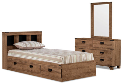 Driftwood 4-Piece Mates Bedroom Package - Country style Bedroom Package in Light Wood Engineered Wood and Laminate Veneers