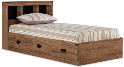 Driftwood Mates Full Platform Bed with Headboard - Rustic style Bed in Light Wood Engineered Wood and Laminate Veneers