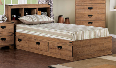 Driftwood Mates Twin Platform Bed with Headboard - Rustic style Bed in Light Wood Engineered Wood and Laminate Veneers