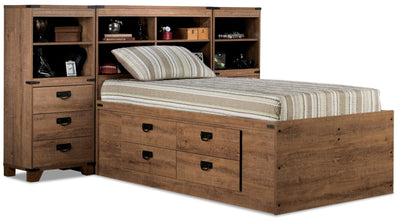 Driftwood Captains Pier Platform Bed - Rustic style Bed in Light Wood Engineered Wood and Laminate Veneers