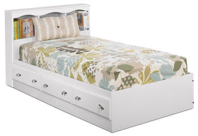 Diamond Dreams Matesbed w/Bookcase Headboard - Traditional style Bed in White