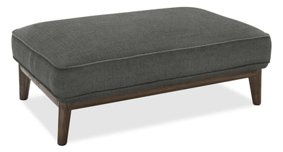 Gena Linen-Look Fabric Ottoman – Charcoal - Modern style Ottoman in Charcoal