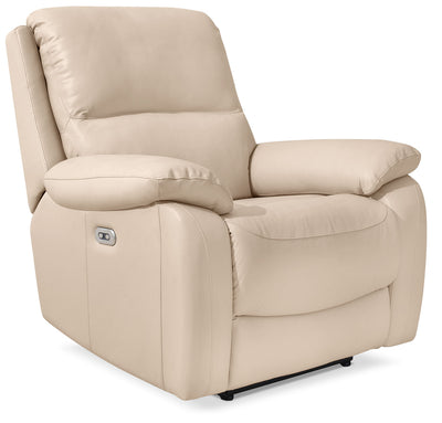Grove Genuine Leather Power Reclining Chair with Adjustable Headrest – Cream - Contemporary style Chair in Cream