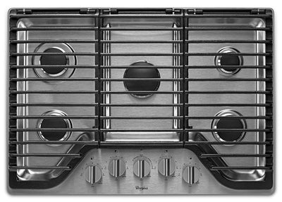 Whirlpool® 30-inch 5 Burner Gas Cooktop with EZ-2-Lift™ Hinged Cast-Iron Grates - WCG97US0HS - Gas Cooktop in Stainless Steel