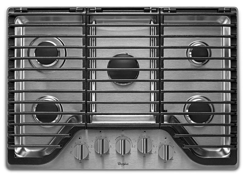 "Whirlpool 30"" 5 Burner Gas Cooktop with EZ-2-Lift™ Hinged Cast-Iron Grates - WCG97US0HS