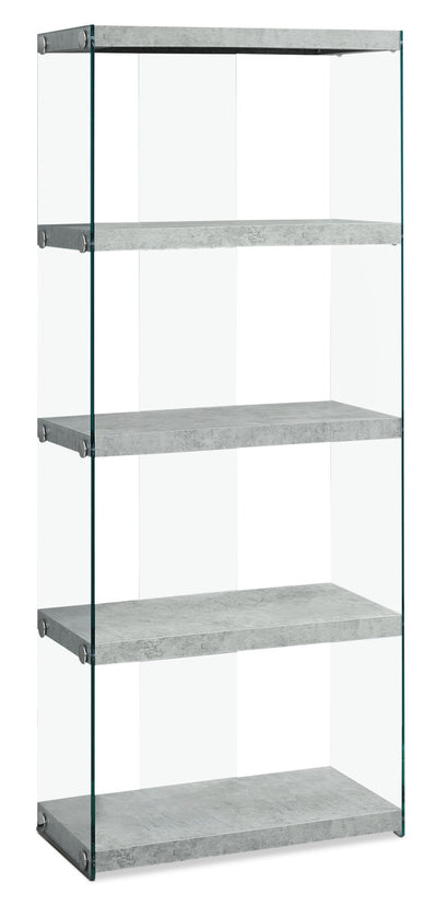 Yonah Tall Bookcase – Cement Grey - Modern style Bookcase in Light Grey Glass