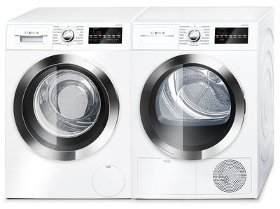 Bosch 800 Series 2.2 Cu. Ft. Compact Washer and 4.0 Cu. Ft. Condensation Dryer - White|Laveuse de 2,2 pi³ et sécheuse par condensation de 4,0 pi³ de série 800 compacte de Bosch - blanches|BSHH800L