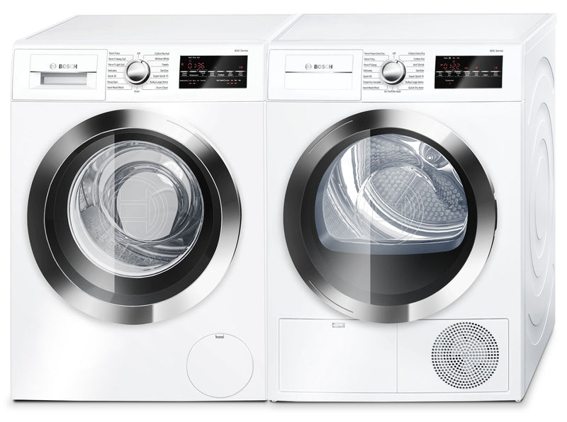 Bosch 800 Series 2.2 Cu. Ft. Compact Washer and 4.0 Cu. Ft. Condensation Dryer - White|Laveuse de 2,2 pi³ et sécheuse par condensation de 4,0 pi³ de série 800 compacte de Bosch - blanches