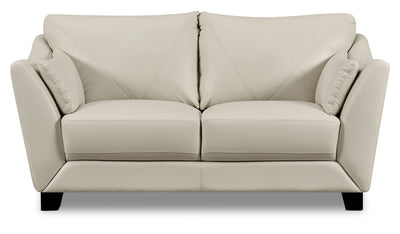 Laken Genuine Leather Loveseat – Smoke|Causeuse Laken en cuir véritable – fumée|LAKENSLV