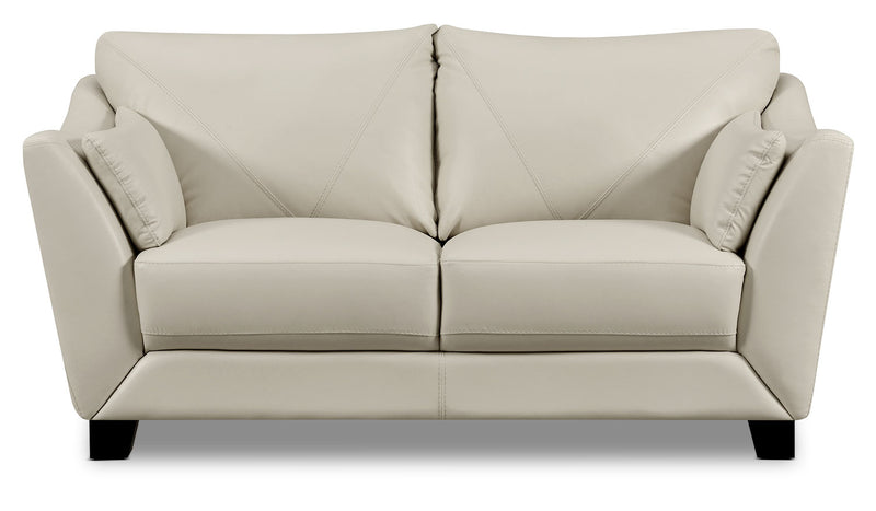 Laken Genuine Leather Loveseat – Smoke - Modern style Loveseat in Smoke