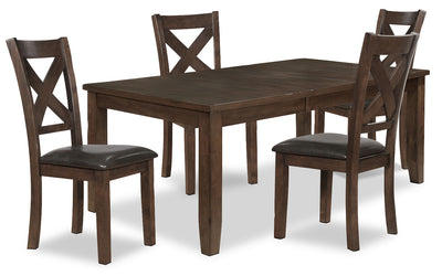Talia 5-Piece Dining Package - Contemporary style Dining Room Set in Brown Rubberwood Solids and Mango Veneers