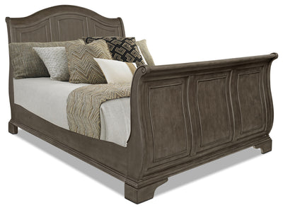 Carmen Queen Sleigh Bed – Grey - Traditional style Bed in Grey Poplar Solid and Birch Veneers