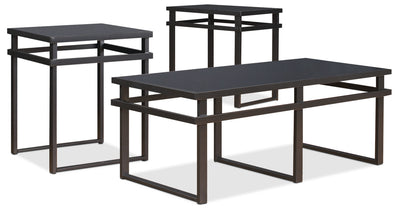 Laney 3-Piece Coffee and Two End Tables Package - Modern style Occasional Table Package in Black Metal and Glass