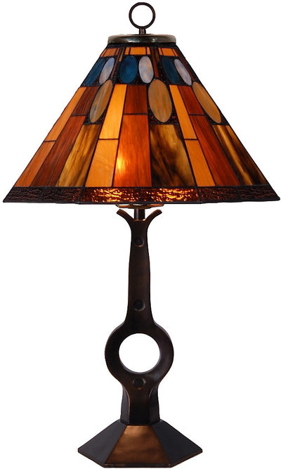 Gallery Hill Table Lamp with Stained Glass Shade|Lampe de table Gallery Hill avec abat-jour en vitrail|TBT634CC