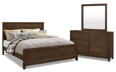 Tacoma 5-Piece King Bedroom Package - Rustic style Bedroom Package in Dark Brown Pine Solids and Veneers